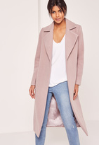 Missguided Longline Faux Wool Duster Coat Mauve