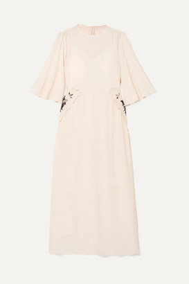 See by Chloe Appliqued Crepe De Chine Midi Dress - Ecru