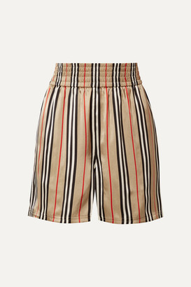 Burberry Striped Silk-satin Shorts - Sand