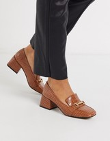 Simba Asos Design ASOS DESIGN mid-heeled loafers in conker croc