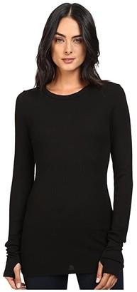 Michael Stars Thermal Long Sleeve Raw Edge Crew w/ Thumbholes (Black) Women's Clothing