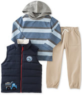 Kids Headquarters 3-Pc. Vest, Striped Hoodie & Pants Set, Baby Boys (0-24 months)