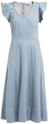 Sea Stella Flared Denim Midi Dress - Womens - Denim