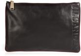 Jil Sander Leather Logo Embossed Clutch in Black/Cordovan