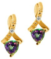 Gem Stone King 0.62 Ct Trillion Green Mystic Topaz and Topaz 18k Yellow Gold Earrings