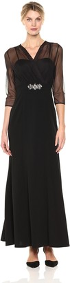 Alex Evenings Women's Long Dress with Surplice Illusion Neckline Overlay