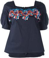 Peter Pilotto ruffle neck lace insert blouse - women - Cotton/Polyamide/Polyester/Spandex/Elastane - 8