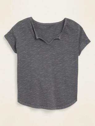 Old Navy Split-Neck Slub-Knit Tee for Women