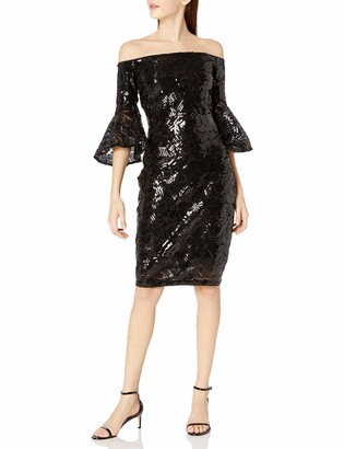 Laundry by Shelli Segal Women's Crepe Off The Shoulder Sequins Cocktail