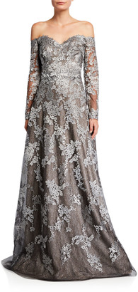 Rene Ruiz Collection Off-the-Shoulder Long-Sleeve Lace Gown
