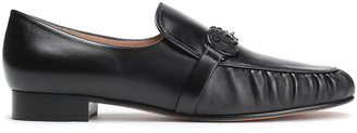 Valentino Calf Hair-trimmed Appliqued Leather Loafers