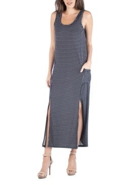 24seven Comfort Apparel Polka Dot Sleeveless Slip Maxi Dress with Side Slits and Pockets