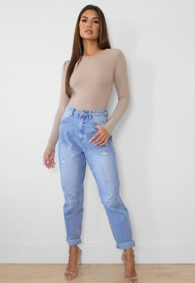 Missguided Blue Knee Seam Detail Tapered Leg Jeans