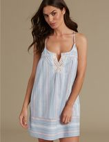 Marks and Spencer Pure Cotton Striped Strappy Chemise