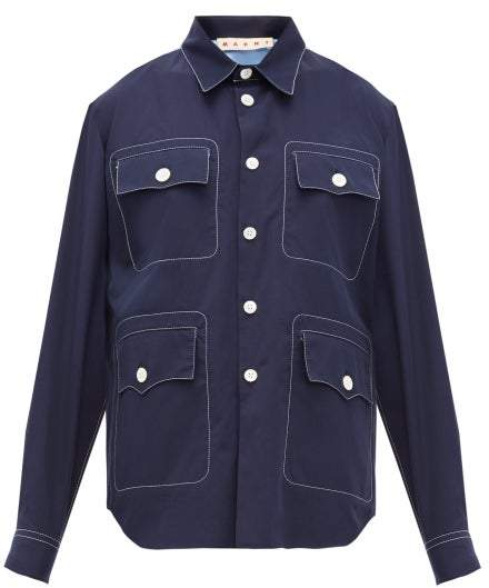 Marni Topstitched Patch-pocket Cotton-poplin Shirt - Womens - Navy