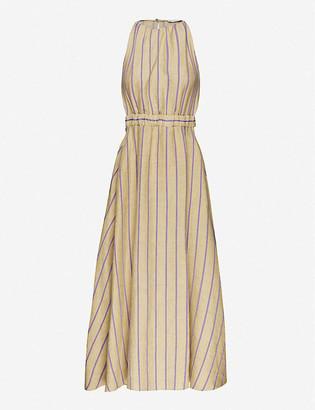 Sandro Taila striped linen-blend midi dress