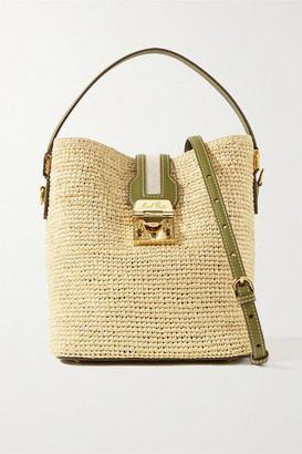 Mark Cross Murphy Large Textured Leather-trimmed Raffia Bucket Bag - Beige
