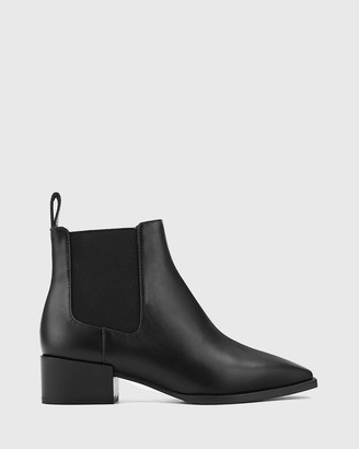 Wittner - Women's Black Short Boots - Cortez Leather Snib Toe Gusset Ankle Boots - Size One Size, 37 at The Iconic