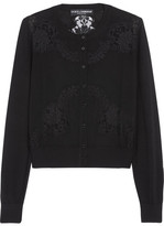 Dolce & Gabbana Lace-paneled Cashmere And Silk-blend Cardigan - Black