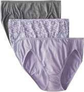 Bali Women's 3 Pack Luxe Hi-Cut Panty, Amethyst Quartz/New Blooms Print/Mid-Charcoal Heather