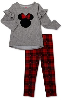 Disney Minnie Mouse Baby Toddler Girl Ruffle Shoulder Top & Plaid Leggings, 2pc outfit set