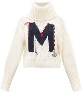Moncler Logo-jacquard Chunky-knit Roll-neck Sweater - Womens - White Multi