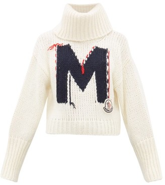 Moncler Logo-jacquard Chunky-knit Roll-neck Sweater - White Multi