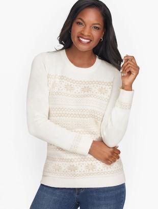 Talbots Supersoft Shimmer Fair Isle Crewneck Sweater