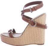 Prada Straw-Covered Wedge Sandals