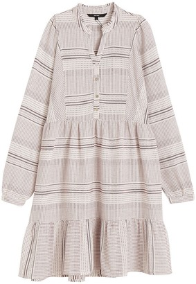 Vero Moda Striped Cotton Flared Dress with Long Sleeves