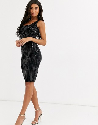 Rare London square neck velvet midi dress