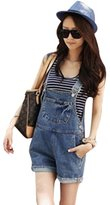 Wispun Women Juniors Washed Jeans Denim Casual Hole Jumpsuit Romper Overall Short (L)