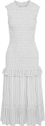 Rebecca Vallance Misty Shirred Checked Crinkled-gauze Midi Dress