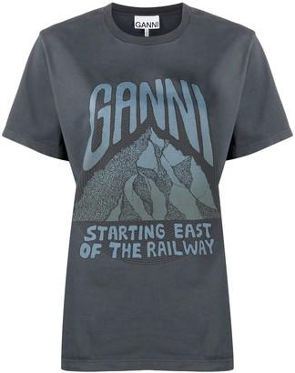 Ganni graphic-print cotton T-shirt