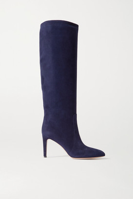 Gianvito Rossi 85 Suede Knee Boots - Navy