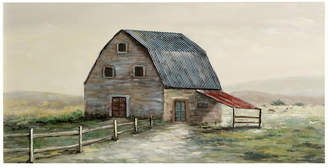 """Stylecraft Old Blue Barn, 55""""x28"""" Hand Painted Farmhouse Textured Stretched Canva"""