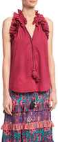 Figue Fabiana Ruffled Cotton Top, Pink