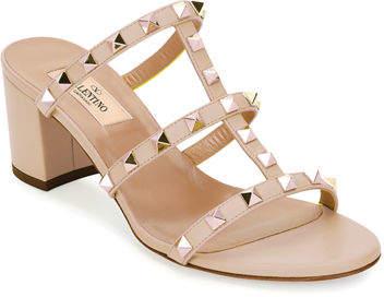 Valentino Rockstud Caged 60mm Slide Sandals