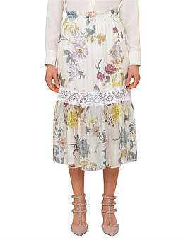 See by Chloe Floral Patchwork Organza Midi Skirt