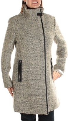 Calvin Klein Women's Wool Coat with Pu Trim and Stand Collar Asymmetric Zipper