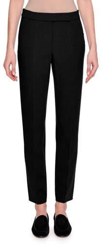 Giorgio Armani Stretch Wool Slim-Leg Pants, Black