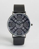 Reclaimed Vintage Paisley Mesh Watch In Black