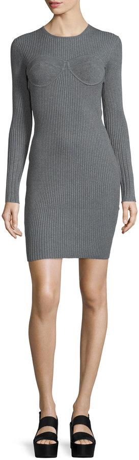 Opening Ceremony Long-Sleeve Corset-Style Dress, Gray