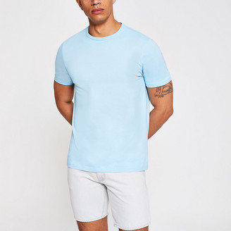 River Island Light blue slim fit crew neck T-shirt