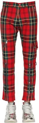 Alexander McQueen FLARED VISCOSE BLEND TARTAN PANTS