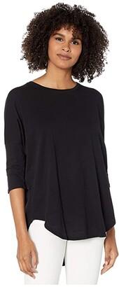 bobi Los Angeles 3/4 Sleeve Drop Shoulder Top in Lightweight Jersey (Black) Women's Clothing