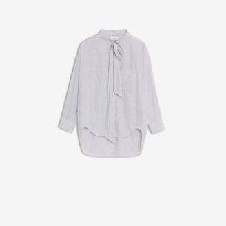 Balenciaga New Swing Shirt in white and black striped cotton poplin