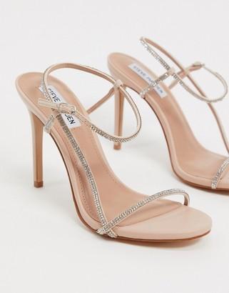 Steve Madden Oaklyn strappy heeled sandals in rhinestone