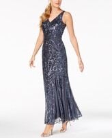 Thumbnail for your product : Nightway Sequined Mesh Gown
