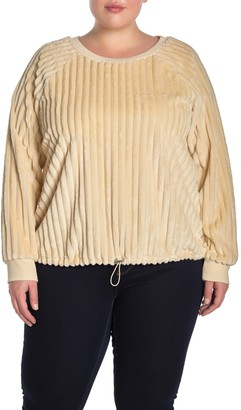 Planet Gold Ribbed Knit Drawcord Hem Pullover (Plus Size)